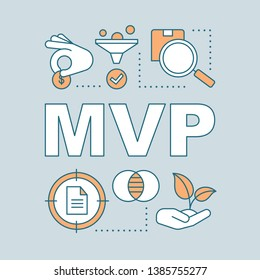 MVP word concepts banner. Minimum viable product. Pilot project. Startup launch. Presentation, website. Isolated lettering typography idea with linear icons. Vector outline illustration