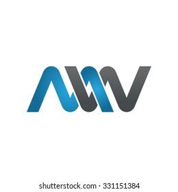 MW company linked letter logo blue