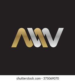 MW company linked letter logo golden silver black background