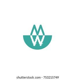 MW icon logo design template