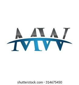 MW initial company blue swoosh logo