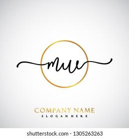 MW Initial Handwriting logo template vector