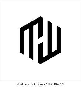 MW initial letters looping linked hexagon monogram logo