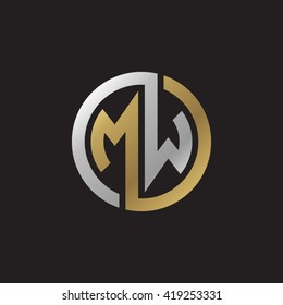 MW initial letters looping linked circle elegant logo golden silver black background