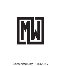 MW initial letters looping linked square monogram logo
