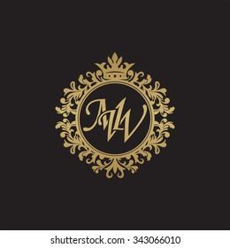 MW initial luxury ornament monogram logo