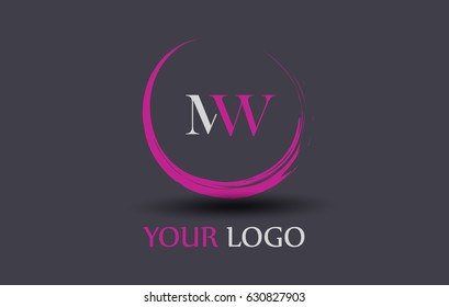 MW Letter Logo Circular Purple Splash Brush Concept.