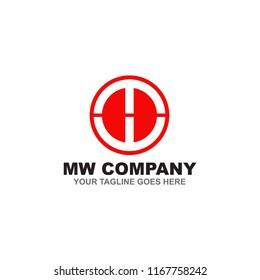 MW Letter logo design vector template