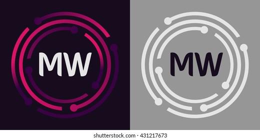 MW letters business logo icon design