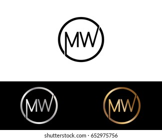 Mw Logo. Letter Design Vector with Black Gold Silver Colors