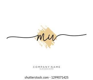 MW M W Initial handwriting logo template