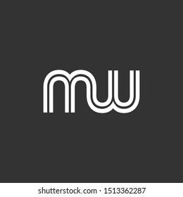 MW or M W letter alphabet logo design in vector format.