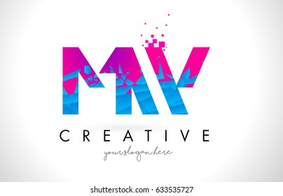 MW M W Letter Logo with Broken Shattered Blue Pink Triangles Texture Design Vector Illustration.