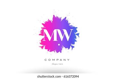MW M W purple pink magenta splash grunge alphabet logo letter design creative vector icon template