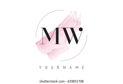 MW M W Watercolor Letter Logo Design with Circular Shape and Pastel Pink Brush.