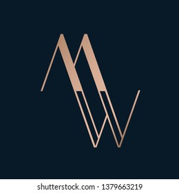 MW monogram.Typographic logo with uppercase letter m and letter w in modern, corporate, architectural, geometric style.Lettering icon with metallic initials isolated on dark background.