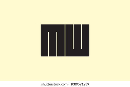 MW WM Letter Initial Logo Design Template