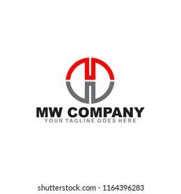 MW or WM logo design vector template