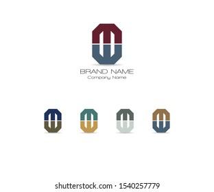 MW & WM Logotype Company Letter Design Vector