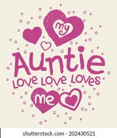 My Auntie Loves Me Kids Tshirt Screen