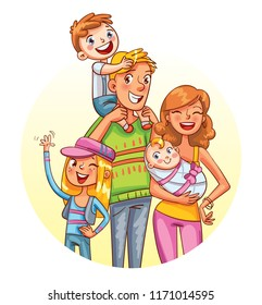My big family together. Family portrait. Placed in a circle. Funny cartoon character. Vector illustration. Isolated on white background.