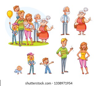My big family together. Family portrait (father, mother, daughter, son, grandparents). Cartoon characters stand together and separately. Vector illustration. Isolated on white background