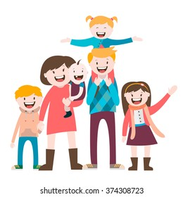 my big happy family , a large family , vector graphics