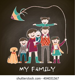 my big happy family , a large family , a stylish family, chalk drawing,vector graphics