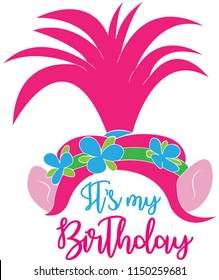 It is my Birthday. Troll Head Illustration