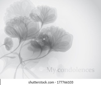 My condolences / Elegant black-and-white funeral card with subtle flowers