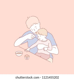 My dad is feeding baby food. hand drawn style vector doodle design illustrations.