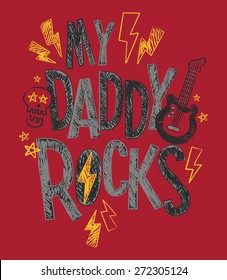 My Daddy Rocks Baby/Toddler/Youth Boys T-shirt Graphic