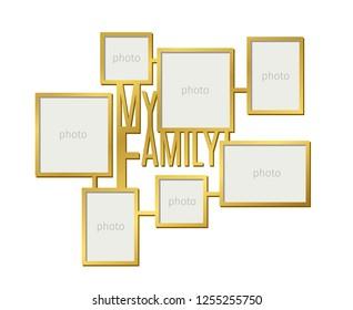 My family photo frame set on white background, vector illustration