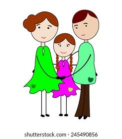 My family.I love my parents.Happy Family-Vector illustration