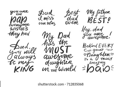My father is the best. Dad, I miss our talks. Father's hand lettering. Can be used for cards,templates