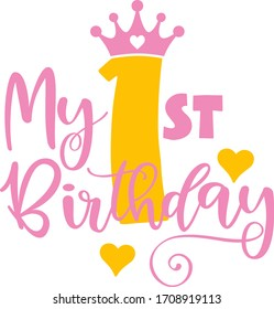 My first birthday, crown, girl party