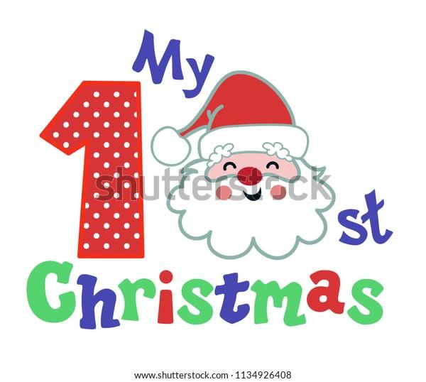 Christmas Humor Clip Art.My First Christmas Funny Face Santa Stock Vector Royalty