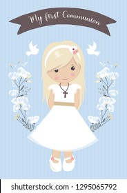 my first communion. beautiful girl with communion dress and flower frame