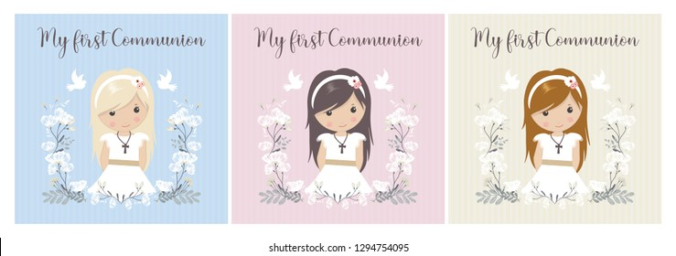 my first communion. beautiful girls with communion dress and flower frame