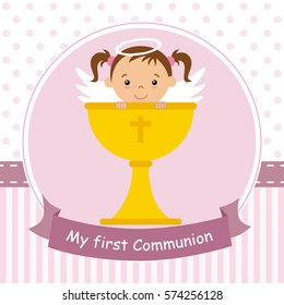 my first communion card. Angel girl with calyx