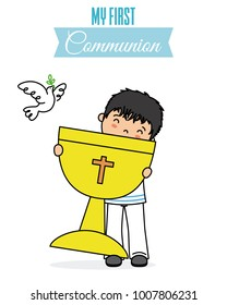 my first communion card. Boy with a chalice