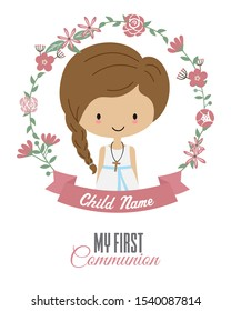 My first communion card. Child inside a flower frame
