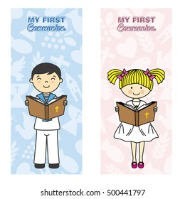 my first communion card. Girl and boy reading the bible