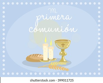 """My first communion. Card invitation. Religious elements on blue background. VectorSpanish text """"My first communion"""""""