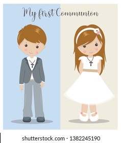 My First Communion girl and boy. Holy Communion characters.