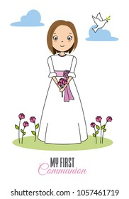 my first communion girl. Girl with flowers in her hand