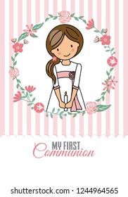 my first communion girl. Pretty girl inside a flower frame