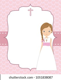 My first communion girl. Space for text