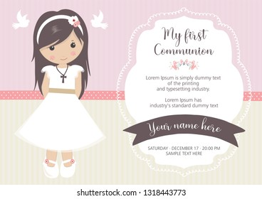 My first communion invitation. Beautiful girl with communion dress and cute frame