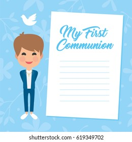 My first communion invitation with message on blue background. Vector